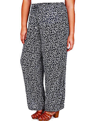 EX YOURS NAVY//WHITE FLORAL PRINT PALAZZO TROUSERS SIZES 14 16 18 20 22 24 NEW