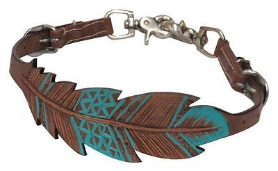 Showman New PONY Size Leather Wither Strap Teal Painted Feathers w/Snaps
