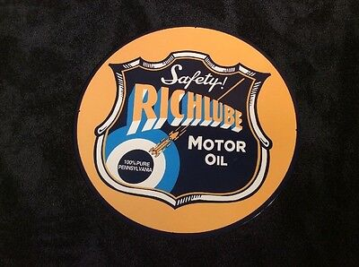 "VINTAGE RICHLUBE PORCELAIN SIGN 24"" 10.6 Lbs METAL GAS & OIL SIGN! PUMP PLATE"