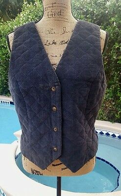 Vintage Tanner Collection Ladies Size 10 Navy Blue Quilted Corduroy Vest