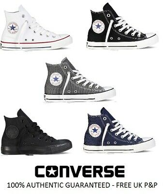 NEW Converse All Star CT Hi Top Canvas Trainers White Black Grey UK Size 3 4 5 6