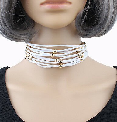 Multi Layered Choker Gold Plated Beads Suede White Black Brown Choker