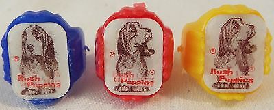 Vintage 1960's HUSH PUPPIES Flicker Rings Lenticular Blue Red Yellow Lot of 3