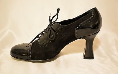 NEW LaDuca Character Shoes Custom Black Patent & Suede Oxfords Size 38