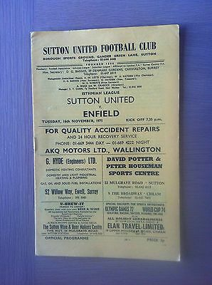 Sutton United V Enfield 1971-72