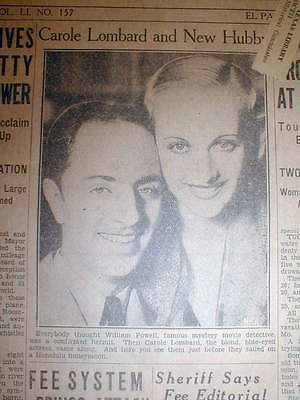 1931 newspaper Movie Stars CAROLE LOMBARD and WILLIAM POWELL get MARRIED