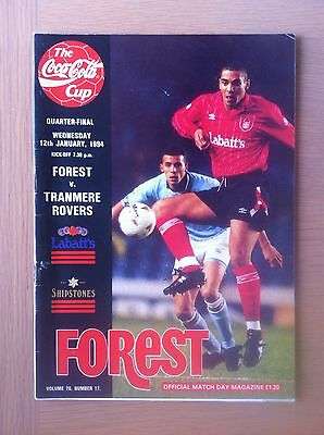 Nottingham Forest V Tranmere Rovers 1993-94.