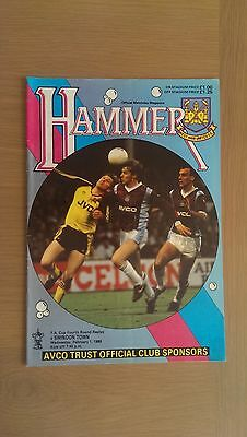West Ham United V Swindon Town 1988-89