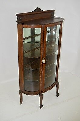 Antique Curved Glass 4 Shelf China Cabinet