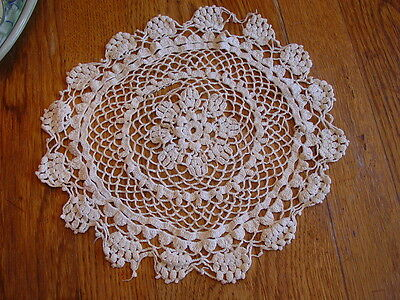 Antique Very Old Crocheted 14-Inch Wide Round Doily~Ecru Color~Sweet & Well Made