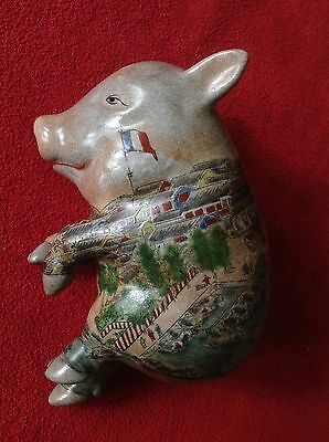 Vintage Hand Painted Porcelain Chinese Sleeping Lucky Pig
