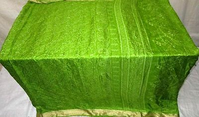 Green Pure Silk 4 yard Vintage Sari GIFT Great Special summer Lovely Sary #ECGXE