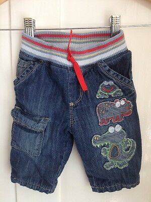 Baby Boy 3-6 Months Soft Lined Jeans Trousers Marks & Spencer Frog Hippo Croc
