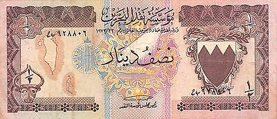 Bahrain  1/2 Dinar  ND. 1973  P 7  circulated  Banknote , ME 7