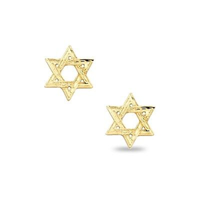 Star Of David Stud Earrings Solid 14k Yellow Gold Jewish Post Studs Fancy