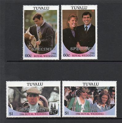 Tuvalu Mnh 1986 Sg397-400 Royal Wedding Specimen Opt