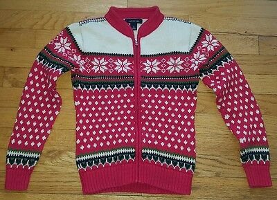 Lands End Kids Small S 7-8 Red with Snowflakes Full Zip Sweater