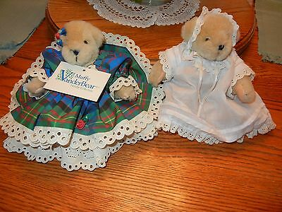 "1986 Vanderbear's  Muffy & Miniature Christening Bear   ""Holiday Collection"""