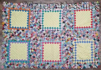 """Small VINTAGE 1930s Postage Stamp QUILT TOP 59"""" x 39"""" Crib or Table"""