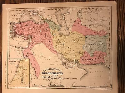 Antique Original 1875 Map of Middle East-Turkey, Persia, etc. Inset of Palestine