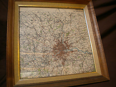 Framed WWI British Air Map of London Dated March, 1916