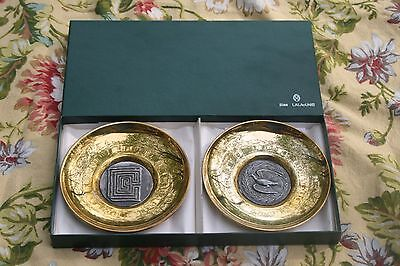 Two Dish Set Ilias Lalaounis Sterling Silver/Brass 925/900 Ancient Greek Coin