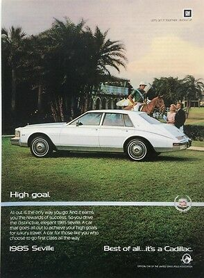 1985 CADILLAC SEVILLE High Goals for Luxury Travel  Car Photo  Vintage PRINT AD