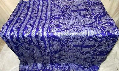 Blue Grey Pure Silk 4 yard Vintage Sari Saree deals for shopaholics Italy #ECH9T
