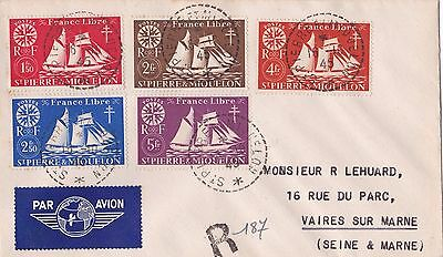 St Pierre & Miquelon 1942 defin sel of 10 diff to 10f on 2 reg'd covers  ST278