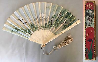 Antique Hand Painted Japanese Silk Fan with Wooden Box