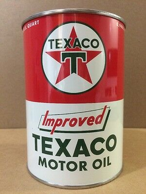 Texaco Motor Oil Can Rare Empty Quart Gas sign Reproduction Vintage Style
