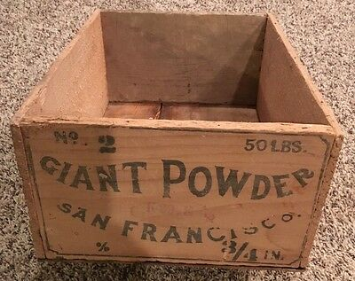1890's Giant Powder Company Dynamite Crate Box Mustache Style San Francisco