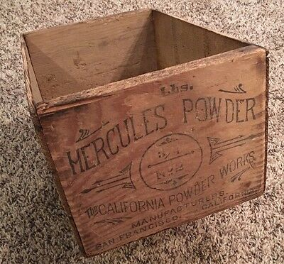 1890's Hercules Powder 25 Pound Dynamite Crate Box San Francisco Mining Blasting