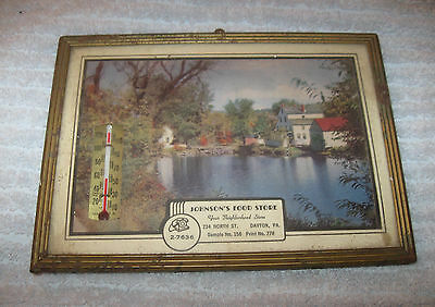 """Vintage Advertising Picture Thermometerlovely Country Scene Johnson""""s Food Store"""