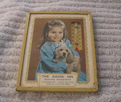 Vintage Advertising Picture Thermometer Little Girl With Dog