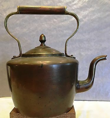 Fine 19Th Century Copper And Brass Tea Kettle