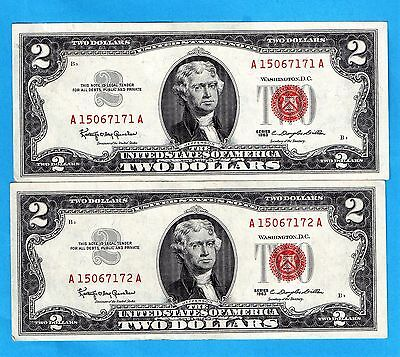 **  [[ 2  ]]  Consecutive  1963 Series  $2.00 Red Seal   ***