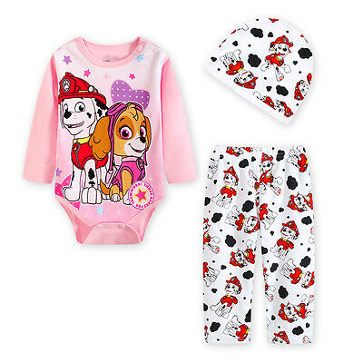 Girls baby babie paw patrol cotton jumpsuit with hat and pants size 0-2 set new