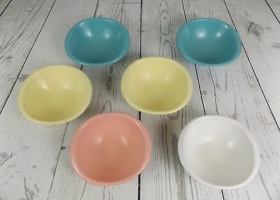 """Vintage Set Of 6 Multi Color Boontonware Melmac 6"""" Bowls  1307-12 Made in USA"""