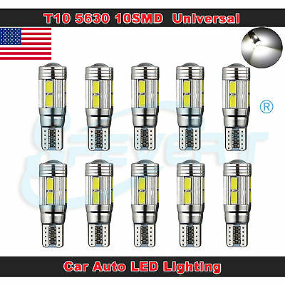 10x T10 194 168 W5W Xenon White LED Error Free Canbus 6SMD Side Wedge Light Bulb