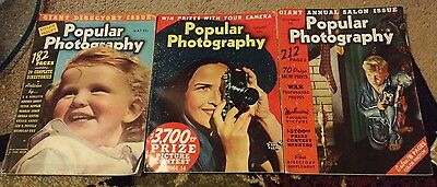 3 1930's Popular Photography Magazines