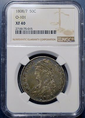 1808/7 Capped Bust Half Dollar 0-101 NGC XF 40 Beautiful Surfaces Free Shipping