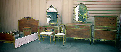 54858  Satin Wood 9 pc. Bedroom Set Bed Dresser Mirror s Nightstand Fr. Country