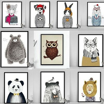 Animal Canvas Art Prints Wall Art Home Decor  Bear Dog Leopard Cartoon Poster
