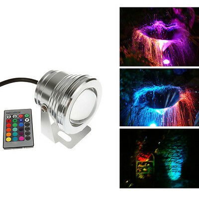 Mini 10W 12V Underwater RGB LED Lamp IR 1000LM Waterproof Fountain Pond Lighting