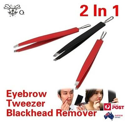 2in1 Stainless Steel Eyebrow Blackhead Remover Acne Pimple Tweezer
