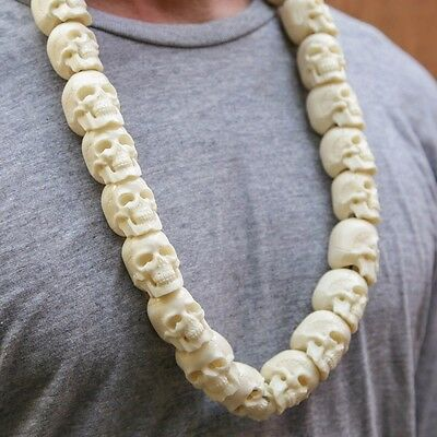 Mens Skull Necklace Hand Carved Bone Gothic jewellery Skeleton Pendant Taxidermy