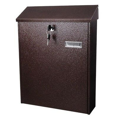 Steel Mailbox Mail Box Lockable Door Home Wall Mount Newspaper Letterbox Letter