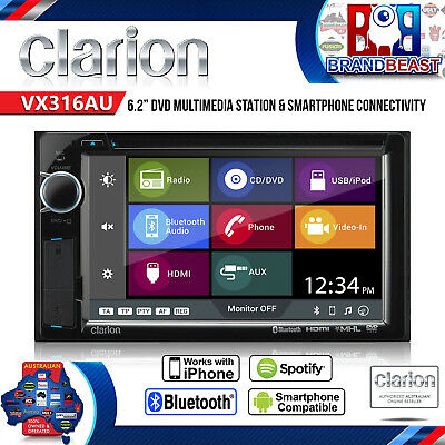 "New Clarion Vx316au 6.2"" Bt Multi Media Hdmi Bluethooth Cd Usb Ipod Bt 2017"