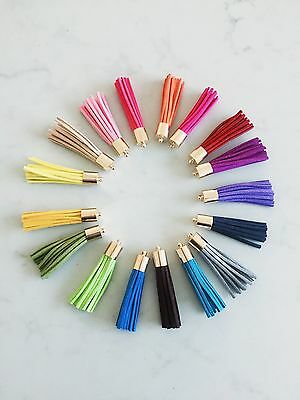10 x Mixed Colours Leather Tassel 50mm 5cm Long